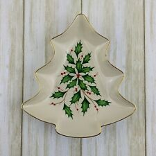 "Lenox Dimensions Collection Holiday Tree Candy Dish 7.5"" Ivory Gold Trim Holly"