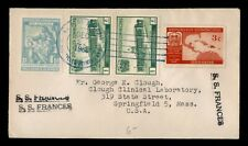 DR WHO 1950 DOMINICAN REPUBLIC PAQUEBOT FRANCES SHIP TO USA  f27342