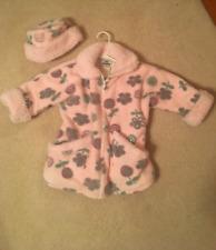 EUC! Girls Corky Pink/Green/Purple Floral Fleece Coat w/Hat Sz 4/5(XS) So cute!
