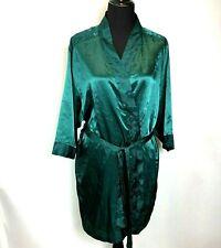 Cacique Robe size M Emerald Green Satin Kimono Lingerie