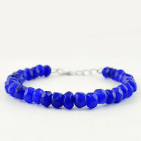 125.50 CTS EARTH MINED ROUND SHAPE FACETED BLUE SAPPHIRE BEADS BRACELET (RS)