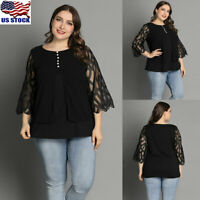 Plus Size Women Lace Mesh Tops Shirts Ladies Loose 3/4 Sleeve Tunic Tops Blouse