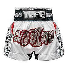 TUFF Muay Thai Boxing Shorts White With Double White Tiger