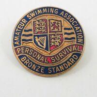 Amateur swimming Association Bronze standard personal survival enamel badge 25mm
