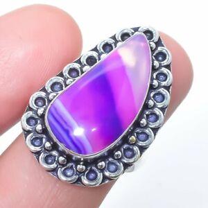 Purple Lace Agate Gemstone Handmade Silver Jewelry Ring Size 8 LG1123