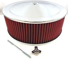 "14"" x 5"" Chrome Steel Performance Air Cleaner Kit W/ Washable Red Filter 14x5"