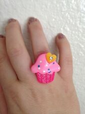 Cupcake Ring Birthday Party Girly Trendy Hearts All Pink W/yellow