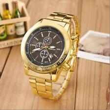 Hombre de lujo reloj fecha oro acero inoxidable analógico cuarzo negocio pulsera