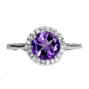 Unheated Round Amethyst 7mm Cz 14K White Gold Plate 925 Sterling Silver Ring 6