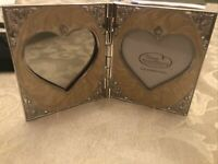 Things Remembered Double Heart Frame Swarovski Crystal Cream Marble Enamel 2.5x3