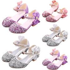 Girls Sequin Bowknot Princess High Heel Shoes Kids Glitter Party Wedding Sandals