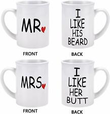 Set of Mr and Mrs Coffee Tea Ceramic 20oz Mugs His Her Marriage Wedding Couples