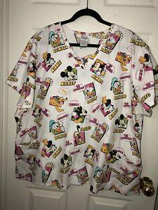 Disney Women's Plus 3X Mickey Mouse & Friends White V-Neck Scrub Top