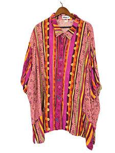 We Be Bop Women's Button Floral Short Sleeve Plus Shirt Size 5X
