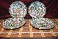 "4 Vintage Asian Porcelain Rose Medallion Shallow Soup Bowl Marked 9 1/4""x1 3/4"""
