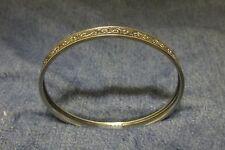 """1960s Signed~Sterling STAR~925 Silver 7mm 8"""" Southwestern Floral Bangle Bracelet"""