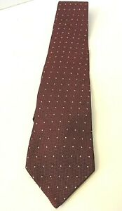 BROOKS BROTHERS Men's All Silk Necktie ~ Burgundy Texture w/ Gold Pin Points USA