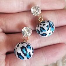 NEW Womens Clear Bead Blue-Black Leopard Print Ball Dangle Stud Pierced Earrings