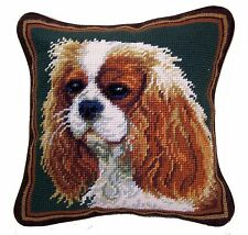 "Cavalier King Charles Spaniel Dog Needlepoint Pillow 10""x10"" NWT"