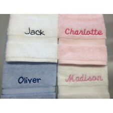 Personalised Embroidered Cotton Face Washer & Name Kids Gift Flannel Face Towel