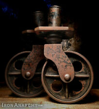 1800s FACTORY CART CASTERS, Antique Industrial Swivel End Wheel Cast Iron Vtg