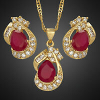 Xmas Wedding Party 18K Yellow Gold Plated Red Ruby Jewelry Set Necklace Earrings