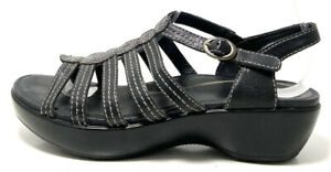 Dansko Drea Black Leather Open Toe Slingback Heeled Sandals Size US 7.5-8 EU 38
