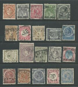 Netherlands Indies 20 different squared circle cancels from 11 different towns