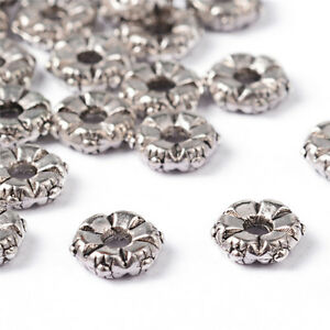 100pcs Tibetan Alloy Flower Metal Beads Decorative Loose Spacers Nickel Free 5mm