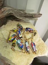 Vintage Gold tone Venetian Moretti Glass Millefiori Rectangle beads Necklace