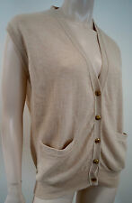 THE CASHMERE CENTRE Beige 100% Cashmere Knit Sleeveless Tank Jumper Sweater Sz:L