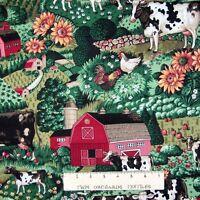 "Country Farm Fabric - Cow Sunflower Farm House Field Green - Springs 21"""