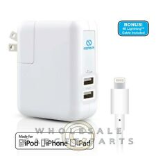 Naztech MFI Lightning Dual USB Port N422 4.8Amp Wall Charger - White Phone