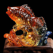 Feng Shui Crystal Glass Animal Figure Fish Carp Paperweight Ornate XMAS Gifts