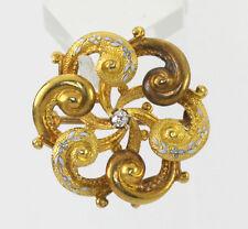 Antique Art Nouveau diamond pin brooch 14K yellow gold enamel texture .05CT Euro