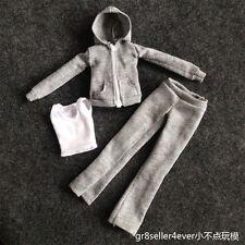 1/6 Female Outfit Grey zipped hoodie women girls Sports Clothing shirt Suit Set