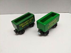 Thomas & Friends Wooden Railway 2 X COAL CAR Sodor Crovan Train Engine Car EUC