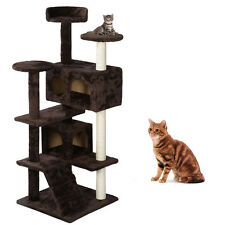 "Cat Climb Trees Cat House 52"" Cat Toys Furniture Play House Hammock Brown New"