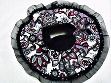 Kitty/Cat Adult Show Bib. Round w/black, gray & red floral/paisley print