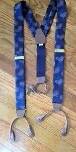 Vintage PERRY ELLIS  Suspenders Paisley Blue 100% Silk PORTFOLIO