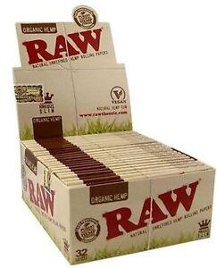 50 RAW ORGANIC 100% Natural Hemp Vegan King Size Slim Rolling Papers - FULL BOX