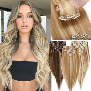 CLEARANCE Clip in 100% Natural Remy Hair Extension Full Head 8pcs Balayage/Ombre