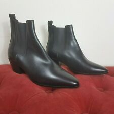 SAINT LAURENT Booties Black Leather Boots Stretch Mismatched 39.5 36 New Amputee
