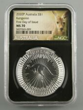 2020-P Unc Australia Kangaroo .999% 1 Oz Silver Coin Certified Ngc Ms 70