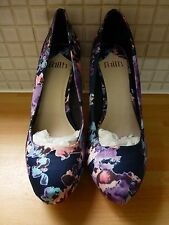 Faith Cadlow Floral High Heel Court Shoes 5/38 BNWT RRP £45 Navy Uk Freepost