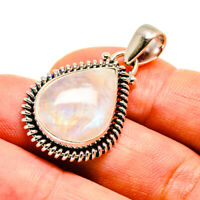 "Rainbow Moonstone 925 Sterling Silver Pendant 1 3/8"" Ana Co Jewelry P739547F"