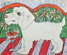 Spinone Italiano Martini Original 11 x 13.5 Painting Vintage Style Dog Art Ksams
