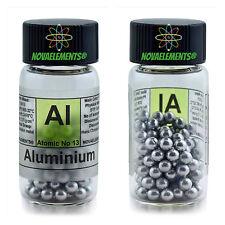 Aluminium metal element 13 Al shiny pellets 5 grams 99,99% in labeled glass vial