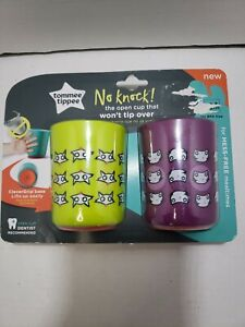 Tommee Tippee No Knock Cup Toddler 12 month+ Training Sippy Trainer Purple Green