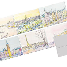 72 Note Cards - Europe Gallery in Watercolor  - Gray Envs